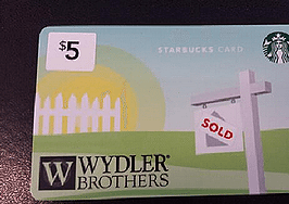 Branded Starbucks cards keeping agents top of mind