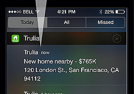 Trulia's updated smartphone app alerts consumers to new listings nearby